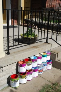 Paint Cans In Front of the House