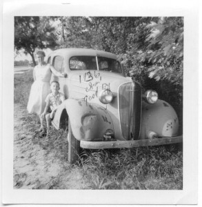 Bobby Losee, Clara Fearn, and Putt Putt (1936 Chevy), Inscription-The Last of our dead car. 26 Chevi, June 1962