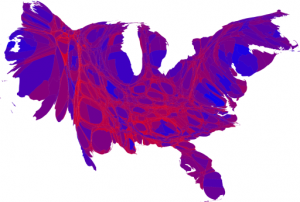 2008 Election Map Showing Shades of Red v Blue and Equal Populations Adjusted to Equal Areas